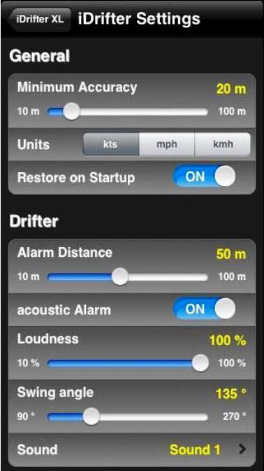 Vista de ajustes de alarma. Fuente GTA