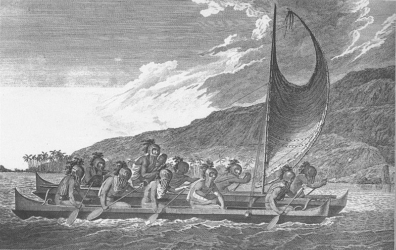 Canoa multicasco en los mares del sur