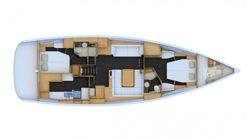 Jeanneau 54 vista zenital interior